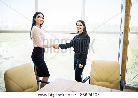 Two Pretty Businesswomen Shaking Hands In Modern Office