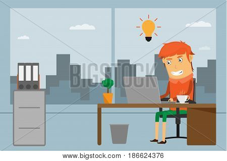 Business man entrepreneur in a suit working on a laptop computer at his office desk and coffee cup on desk. Flat style vector illustration.