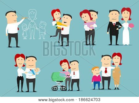 Family life cycle cartoon character set. Single man dreaming about family, dating, newly married couple, happy family with newborn, pregnant woman with husband and son expecting a second child