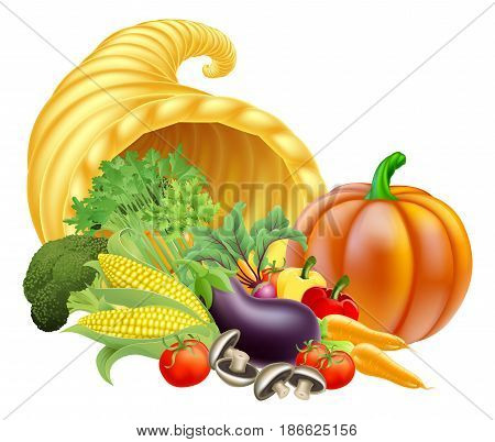 Thanksgiving or golden horn of plenty cornucopia full of vegetables and fruit produce
