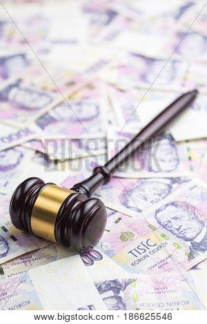 Judge gavel and czech paper money.