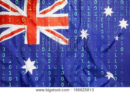 Binary Code With Australian Flag, Data Protection Concept