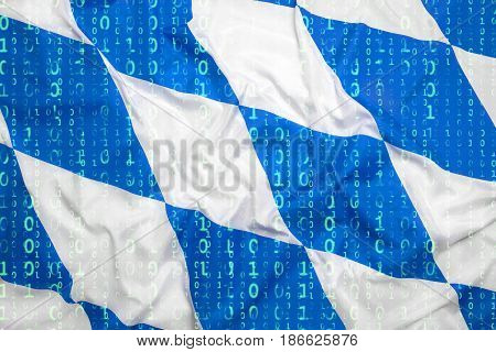 Binary Code With Bavaria Flag, Data Protection Concept