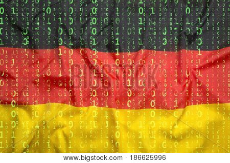 Binary Code With Germany Flag, Data Protection Concept