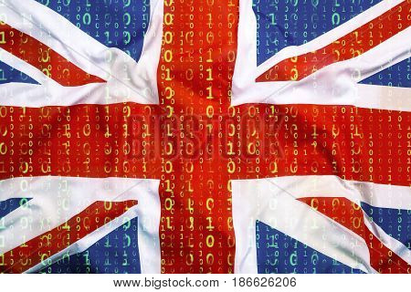 Binary Code With Great Britain Flag, Data Protection Concept