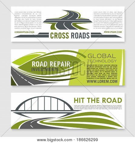 Road and highway banner template set. Curved road under railway bridge, asphalt highway and crossroad symbol for road construction company, car trip, travel and transportation services design