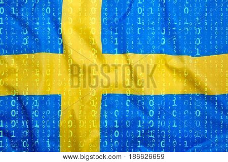 Binary Code With Sweden Flag, Data Protection Concept