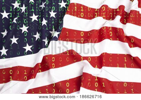 Binary Code With Us Flag, Data Protection Concept