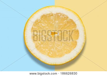 Piece Of Lemon On Colorful Background