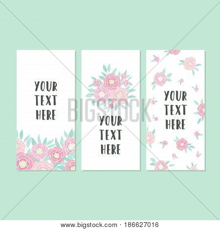 Set of greeting card templates. Vector hand drawn illustration. Pink peonies
