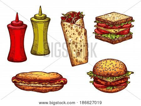 Fast food burger and sandwich sketch set. Isolated fast food lunch dishes of hamburger, hot dog, cheeseburger, sandwich with ham and vegetable, mexican burrito, ketchup and mustard sauce