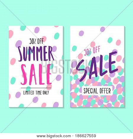 Two summer sale template. Vector hand drawn illustration. Flyers, posters, cards