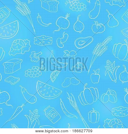 Seamless pattern on the theme of vegetarianism grocery icons simple contour icons are drawn with light contour on blue background