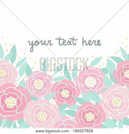 Cute pink peonies. Hand drawn illustration. Vector template