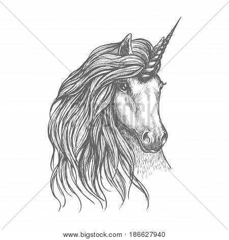 Unicorn fantastic horse isolated sketch. Head of magic horned horse with wavy long mane. Tattoo, t-shirt print, fairytale or legend design