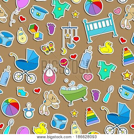 Seamless pattern on the theme of childhood and newborn babies baby accessories and toys simple color stickers icons on brown background