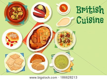 British cuisine healthy food icon with irish stew of potato and meat, beef steak with fries, meat pie, vegetable lamb stew, lamb soup, scone with berry jam, oatmeal cookie, sorrel cream soup