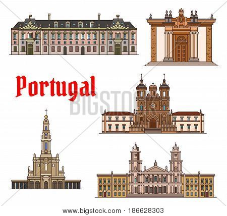 Portuguese travel landmark icon set. Linear building of Catholic Church Alcobaca Monastery, Joanina Library of University of Coimbra, Palace of Mafra, Sanctuary of Our Lady of Fatima, Palace of Ajuda