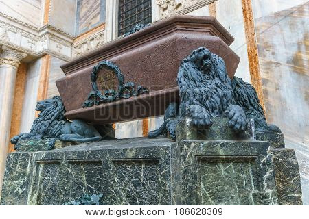 Venice Italy - April 27 2017: The tomb of Daniele Manin on th north side of Basilica San Marco in Venice Italy.