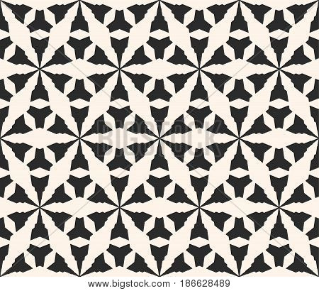 Vector monochrome seamless pattern, geometric texture, black & white simple abstract angled figures, repeat tiles, triangular grid. Modern contrast background. Design for prints, furniture, textile, fabric, decoration, package