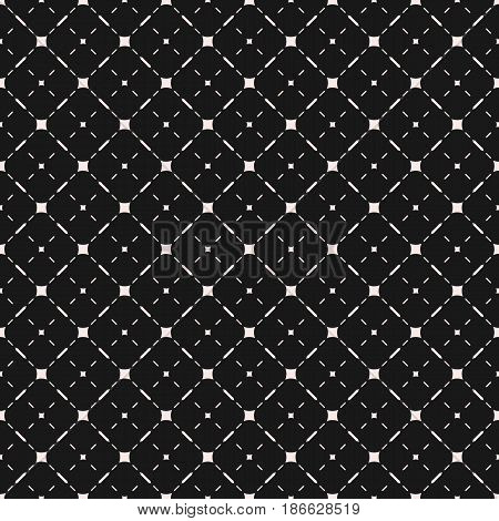 Vector minimalist seamless pattern. Stylish modern geometric texture with simple elements, thin diagonal lines. Black & white abstract background. Dark illustration of mesh. Design for tileable print