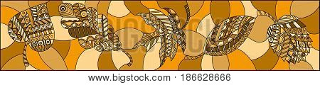 Illustration in stained glass style with patterned autumn leaves on horizontal orientationbrown tone sepia