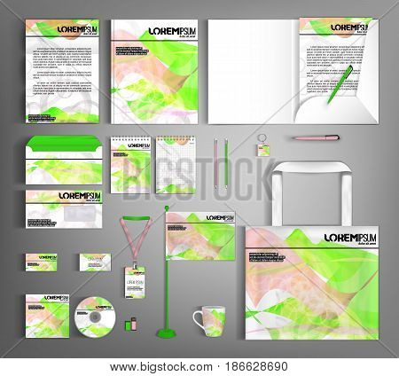 White corporate identity template design with decorative ornament abstract wave. Modern abstract business set stationery.