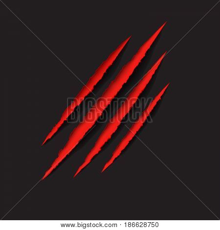 Red claws scratches - vector isolated on black background. Claws scratching animal (cat tiger lion bear) illustration.