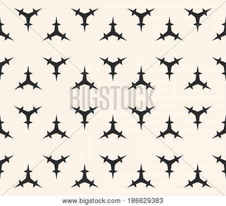 Vector seamless pattern, minimalist monochrome geometric texture. Simple illustration of triangular prickly figures. Abstract repeat background. Design element for prints, stamping, digital, decor