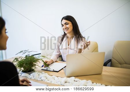 Woman Manager Talking With Client At Desk In Modern Office