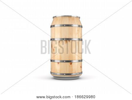 Wooden Beer Can on white background. 3D illustration