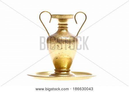 Goldan Amphora On Tray Isolated On Whit