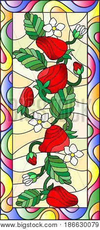 Illustration in stained glass style with flowers berries and leaves of strawberry in a bright framevertical orientation