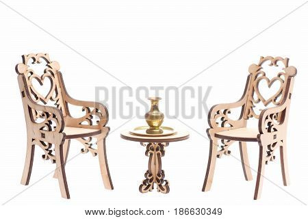 Antique Concept, Vase On Tray On Table With Engraved Chairs