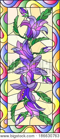 Illustration in stained glass style with flowers buds and leaves of bluebells flowersvertical orientation