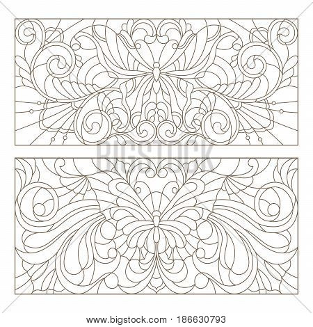 Set contour illustrations of stained glass with abstract swirls flowers and butterflies horizontal orientation