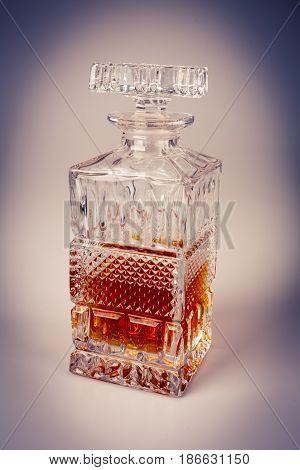 Whisky in beautiful glass bottle rum bourbon cognac brandy glassware retro set