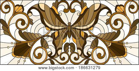 Illustration in stained glass style with butterfly and floral ornament brown tone sepia