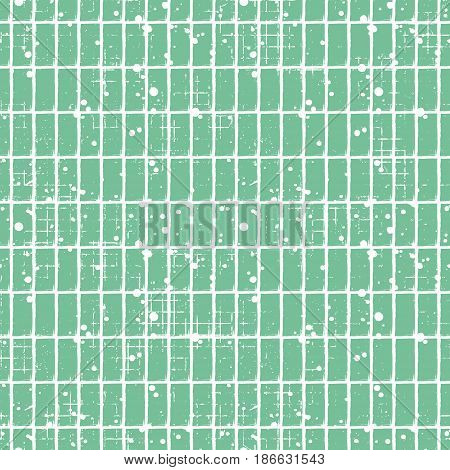 Seamless Vector Checkered Pattern. Creative Geometric Pastel Background With Rectangles. Grunge Text