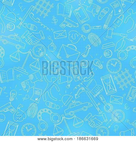 Seamless pattern on the theme of crime and punishment a light contour on blue background