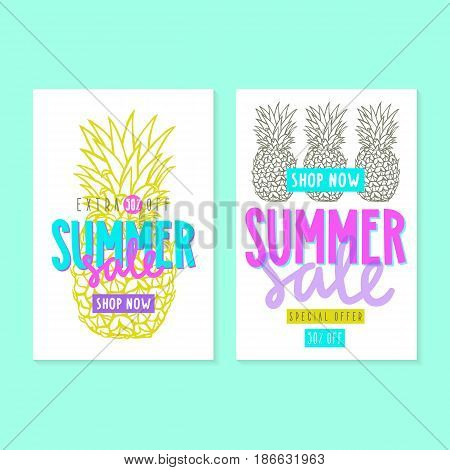 Two summer sale templates. Stylish modern illustration. Can be used like flyers, cards or posters
