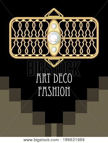 Expensive art deco filigree brooch in rectangle composition with diamonds, fashion in victorian style, antique gold jewel, vector EPS 10