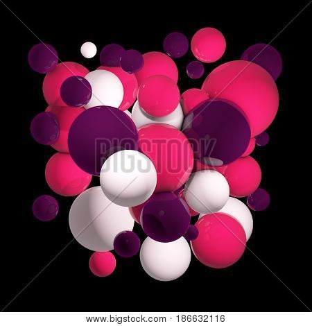 Flying spheres in empty space, abstract bubbles. Group of colored 3d spheres. Orb clouds. Pink and purple balls on dark background. Isolated round orbs. 3D illustration