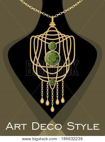 Luxurious art deco pendant with green gems emerald on gold chain, fashion in victorian style, antique jewel, vector EPS 10