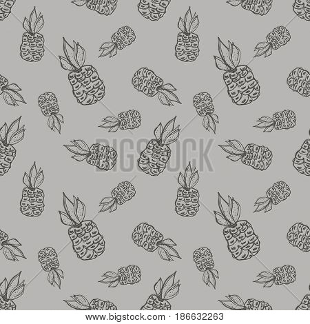 Seamless Vector Pattern. Hand Drawn Fruits Illustration Of Pineapple On The Line Drawing. Print For