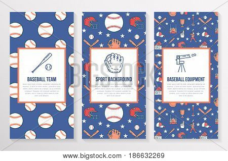 Baseball, softball sport game brochure template, flyer. Vector trifold colored blue background. Equipment thin line icons - bats, balls, field. Illustration for team poster.