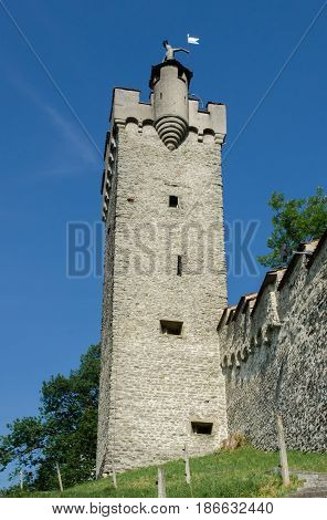 Watchtower at medieval fortress in the city of Lucerne Switzerland.