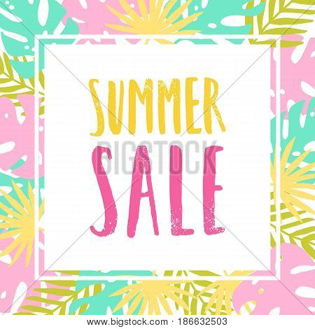 Summer sale flyer. Colourful tropical leaves. Stylish vector template
