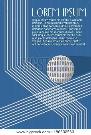 Silver metallic round logotype on dark blue background, broken lines and sphere with shadow, vector EPS 10