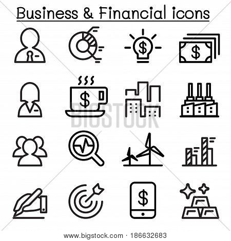 Business & financial icon set in thin line style